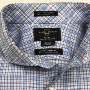 Black Brown Dress Shirt Egyption Cotton Size 17.5